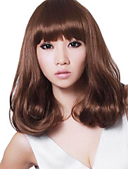 Capless Střední kudrnaté vlasy Stylový syntetická Plný Bang Paruky Honey Brown