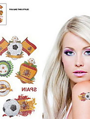 2ks Fotbal vzor Španělsko Světový pohár Vodotěsné tetování těla Dočasné Glitter Samolepky