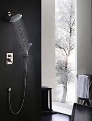Současné Nástěnná montáž Dešťová sprcha Včetne sprchové hlavice with  Keramický ventil Single Handle tři otvory for  Broušený nikl ,