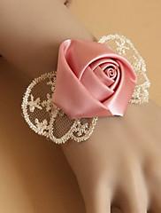 手作りチャーミング花嫁スタイルレッドローズ白いレーススウィートロリータブレスレット