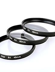 ブラック - キヤノン/ニコン/ソニー一眼レフなどのためにスターフィルターX 46ミリメートル4点+6点+8点3枚組み合わせスーツ