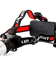 ヘッドランプ LED モード 800 ルーメン 防水 CREE T6 18650 キャンプ/ハイキング/ケイビング ブラック プラスチック