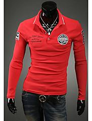 S & M Pánská klopu krku pláště T-Shirt Yf95 Red