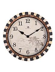 """18.4 """"H Country Style Brick hran Coconut Tree Pattern Polyresin Nástěnné hodiny"""