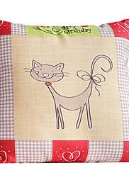 国ラブリーキャットコットン/リネン装飾枕カバー