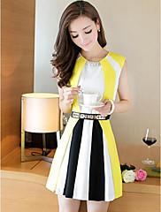 HGJ Ženska kontrast boja bez rukava šifon haljina