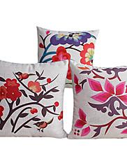 3国の花コットン/リネン装飾枕カバーのセット