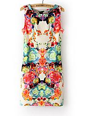 Maxlove Ženska cvjetni print Bodycon rukava haljina