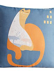国ファットレイジーキャットコットン/リネン装飾枕カバー