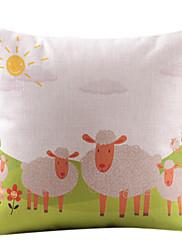 草のコットン/リネン羊装飾枕カバー