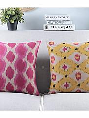 2格子コットン/リネン装飾枕カバーのセット