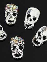 10ks colorfull drahokamu lebka 3d slitina nail art dekorace