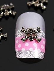 10ks módní drahokamu přejezd lebka 3d slitina nail art dekorace