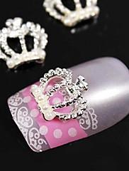 10ks perla koruna 3d kamínky slitina nail art dekorace