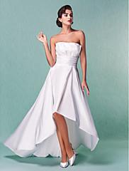 LAN TING BRIDE A-Linie Princess Svatební šaty - Klasické & nadčasové Elegantní & moderní Šaty na hostinu Retro Asymetrické Bez ramínek