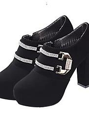 輝くグリッターとジッパー付き婦人靴ラウンドつま先分厚いヒールアンクルブーツ