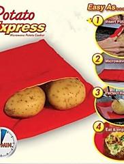 4分で新しい高品質の実用的な迅速、簡単赤いポテト洗えるマイクロ波袋スチームポケット焼くポテト