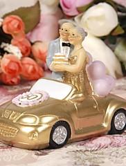 primeros de la torta felicidad parejas matrimoniales de oro de pie en un oro pastel topper coche