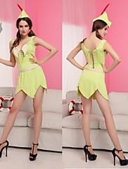 ロビンフード蛍光緑のドレスの女性のカーニバルの衣装