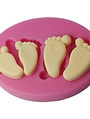 4-cのシリコーンエンボスモールド赤ちゃんの足のフォンダンとガムペースト型カラーピンクSM-419