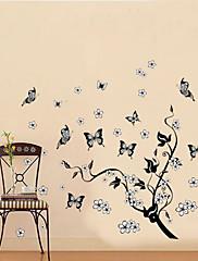 klasická černá strom révy vinné létání motýl stěna obtisk zooyoo7005 dekorativní odstranitelné PVC stěna nálepka