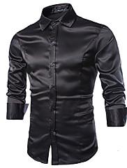 男性用 長袖 シャツ , コットン/ポリエステル カジュアル/オフィス プレイン
