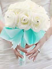 crema de primera calidad y mano elegante azul hacen ramos de novia decorativa de cristal con cuentas artificial flor novia vestidos
