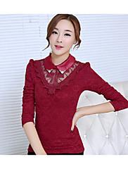 Ženski Bluza Dugih rukava - Kragna košulje - Čipka , Čipka