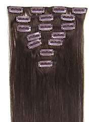 本当のインドレミー人間の髪の毛の拡張子#02ダークブラウンで18インチ、22inchグレードAAAA 7PCS 70グラム、80グラムクリップ
