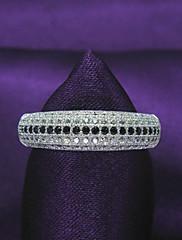samice klasický Ohromující design platinovaného 925 mincovní stříbro, zirkony angažovanost, kulatý tvar snubní prsten