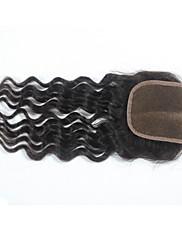 """4 """"×4""""中央部のレースの閉鎖ヘアピースブラジルない部分の上の閉鎖緩い波3一部の人間の髪の毛の閉鎖"""