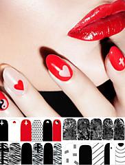 1 ks červená černá a bílá klasika série lak na nehty nálepka obrazy na stěnu