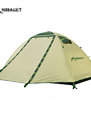 HIMAGET Brand High Quality Double Layer 2 Person 2 Door Outdoor Camping  Pattern  Al Pole Camping Tent