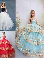 プリンセスライン ドレス ために バービー人形 パープル / ブラウン / ホワイト ドレス のために 女の子の 人形玩具