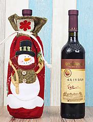 クリスマスディナーテーブルパーティの装飾(1枚)のためのワインの袋布カバーのサンタ雪だるま