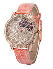 dámská móda Bowknot Diamante kulatý ciferník kožené kapela quartz analog studenta náramkové hodinky (Smíšený Barva)