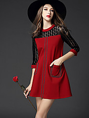 婦人向け ストリートファッション Aライン ドレス,パッチワーク マキシ ラウンドネック スパンデックス