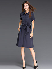 婦人向け シンプル シフト ドレス,ソリッド 膝上 シャツカラー コットン / ポリエステル