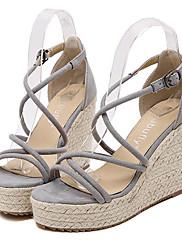 Ženske cipele-Sandale-Aktivnosti u prirodi / Ležerne prilike-Flis-Puna potpetica-Pune pete / Štikle-Crna / Siva / Bež