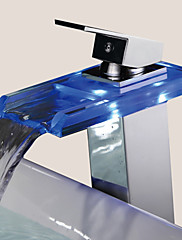 現代風 センターセット 滝状吐水タイプ with  セラミックバルブ シングルハンドルつの穴 for  クロム , バスルームのシンクの蛇口