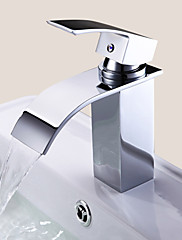 Bathroom Sink Faucet Contemporary Design Waterfall (Chrome Finish)
