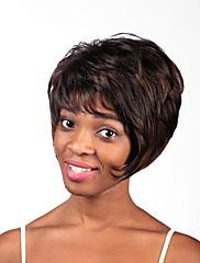 ファッショナブルなブラウンカラーの短い長さの最高品質の合成かつら