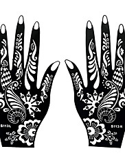 2pcs Henna Mehndi Airbrush Hands Art Tattoo Stencil Temporary Indian Black Tattoo Printing Sticker S113