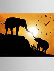 長方形 コンテンポラリー 壁時計,動物 キャンバス 35 x 50cm(14inchx20inch)x1pcs/ 40 x 60cm(16inchx24inch)x1pcs/ 50 x 70cm(20inchx28inch)x1pcs