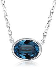 Dámské Náhrdelníky s přívěšky Kubický zirkon Zirkon Pokovená platina Pozlacené Oval Shape Módní Tmavomodrá Světle modrá ŠperkySvatební