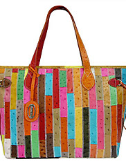 Kate&Co. fashion leather ladies bags color ostrich colorful mosaic shoulder stripe mosaic BC-00072