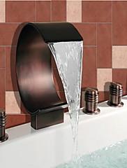 アンティーク調 ローマンバスタブ 滝状吐水タイプ ワイドspary ハンドシャワーは含まれている with  セラミックバルブ 二つのハンドル5つの穴 for  オイルブロンズ , 浴槽用水栓