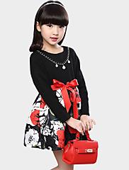 女の子の カジュアル/普段着 フラワー コットン,ドレス / アンサンブル 夏 ブラック / レッド
