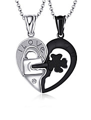 Muškarci Žene Par je Ogrlice s privjeskom Tikovina Heart Shape Jewelry Stil cvijeta Crna/Bijela Jewelry Dnevno 1 par