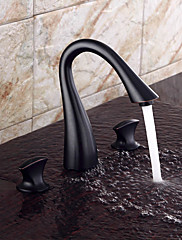 現代風 組み合わせ式 ワイドspary with  セラミックバルブ 二つのハンドル三穴 for  オイルブロンズ , バスルームのシンクの蛇口